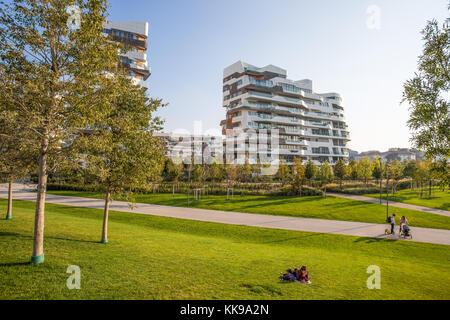 MILAN, ITALY, OCTOBER 13, 2017 - New modern building condo of 'City Life' business and residential district, 'Tre - Stock Photo