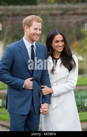 Kensington Palace announce the engagement of Prince Harry Wales to U.S. Actress Meghan Markle in the water garden - Stock Photo