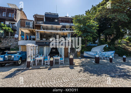 SOZOPOL, BULGARIA - AUGUST 24, 2017: Unusual restaurant on the seafront of the Ancient seaside town on the Black - Stock Photo
