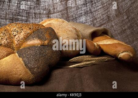 fresh baguette and buns - Stock Photo