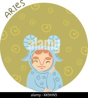 Cute zodiac sign - Aries. Vector illustration. - Stock Photo