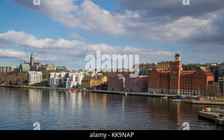 The new waterfront in Nacka just east of Stockholms hippest part Södermalm and the SoFo district. Also close to - Stock Photo