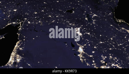 The Earth from space at night. Elements of this image furnished by NASA - Stock Photo