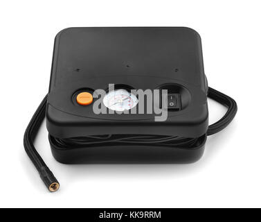 Car air compressor with manometer isolated on a white background - Stock Photo