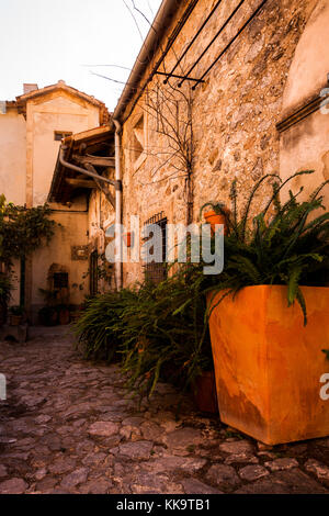 A Tranquil rustic courtyard in Valldemossa, Majorca Spain - Stock Photo