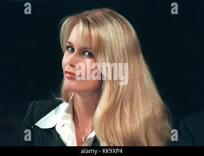 German fashion model Claudia Schiffer, photographed on 8 October 1997 in Cologne (North-Rhine Westphalia, Germany). - Stock Photo