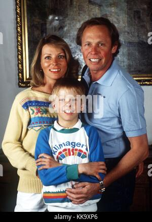 German singer and television producer Peter Kraus with his family on 30 April 1982. He celebrated his 65th birthday - Stock Photo