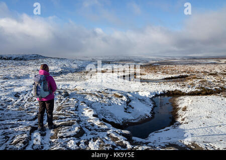 Walker at White Well Spring on Cronkley Fell in Winter, Upper Teesdale, County Durham UK - Stock Photo