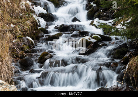 Majestic small stream cascading down a mountain slope in the Austrian Alps (long exposure)