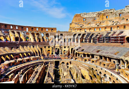 Interior view of Colosseum in a sunny day in Rome on September 14, 2016. - Stock Photo