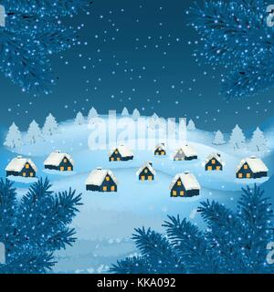 New year and Christmas greetings design. Winter holidays landscape. Background with snowflakes Christmas tree and - Stock Photo