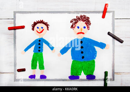 Colorful drawing: Smiling slim boy and obese sad boy. Weight loss. - Stock Photo