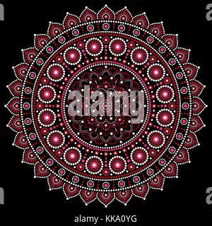 Mandala vector design, Aboriginal dot painting style, Australian folk art boho style - Stock Photo