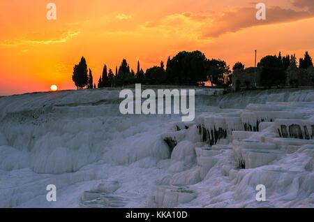 Orange sunset over Pamukkale, Turkey - Stock Photo