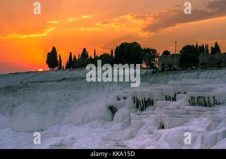 Dramatic sunset over Pamukkale, Turkey - Stock Photo