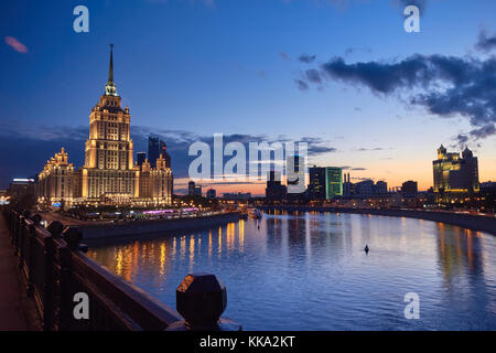 The Radisson Royal Hotel (luxury hotel in Moscow) at left. Built in 1953-1957. World Trade Center (International Trade Center) at background. Moscow,