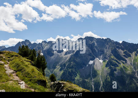 View from the Ahorn Mountain, Mayrhofen, Austria - Stock Photo