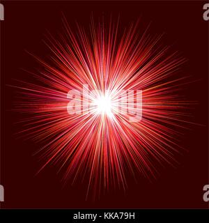 Abstract red explosion design on dark background - Stock Photo