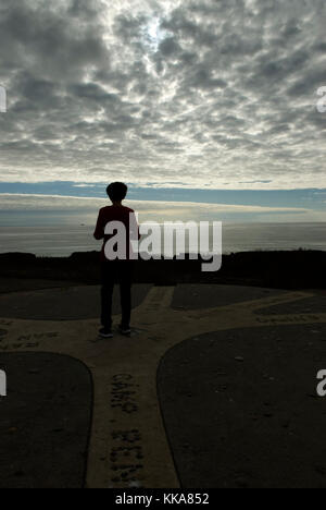 Woman viewing Los Flores View Point, El CAMINO Real, Oceanside, California USA. - Stock Photo