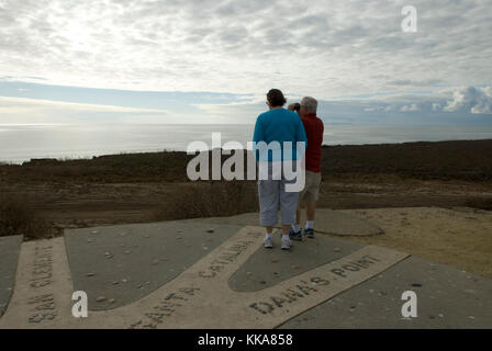 Senior couple viewing the ocean at Los Flores View Point, El CAMINO Real, Oceanside, California USA. - Stock Photo