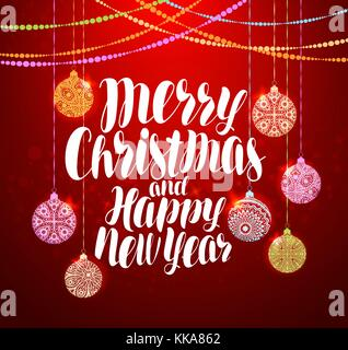 Merry Christmas and Happy New Year, lettering. Xmas greeting card. Vector illustration - Stock Photo