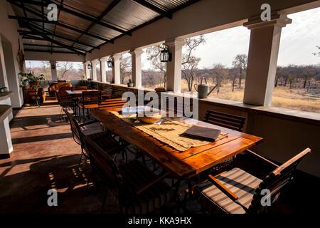 Restaurant area at Tamboti Luxury Campsite, Onguma Game Reserve, Namibia, Africa - Stock Photo