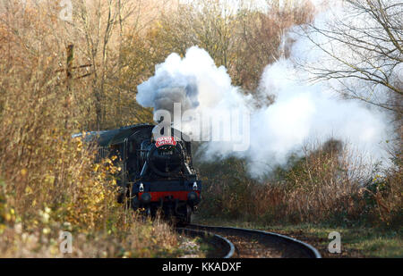 Peterborough, UK. 29th Nov, 2017. The Santa Special steam locomotive train 78018 has begun it's Christmas service - Stock Photo