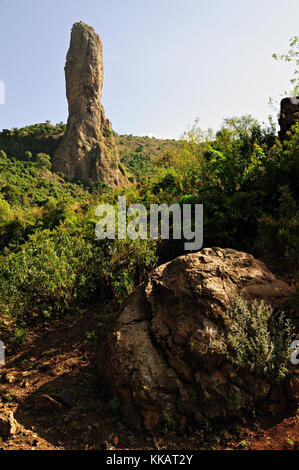 Rocky outcrop (God's finger) along the road between Gondar and Bahir Dar, Amhara Region, Ethiopia - Stock Photo