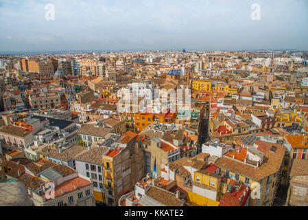 The view over Valencia from Valencia Cathedral, Valencia, Spain, Europe - Stock Photo