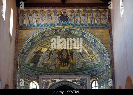 Ciborium from the 12th century in front of an apse mosaic from the 6th century, Euphrasian Basilica, UNESCO, Porec, - Stock Photo