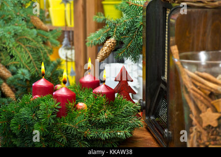Christmas Still Life with Advent Wreath and Old Radio - Stock Photo