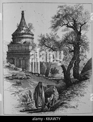 An etching depicting the Tomb of Absalom, also called Absalom's Pillar, the rock-cut tomb is located in the Kidron - Stock Photo