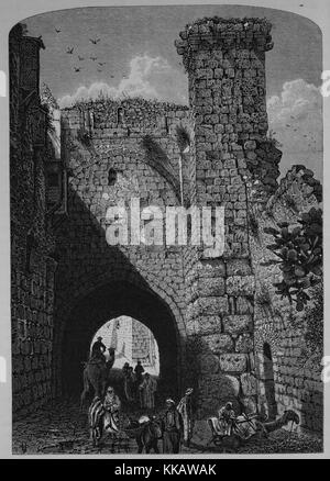 An engraving depicting people congregating and traveling through a stone archway at the Antonia Fortress, it was - Stock Photo