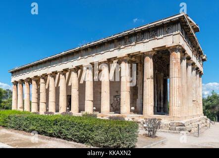The Temple of Hephaestus (Hephaistos) in the precinct of the Ancient Agora, Athens, Greece - Stock Photo