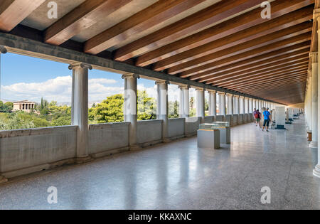 Museum of the Ancient Agora in the Stoa of Attalos with the Temple of Hephaestus in the distance, Ancient Agora - Stock Photo