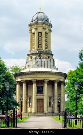 Saltaire industrial World Heritage Site, West Yorkshire. The round Congregational Church is now the United Reformed - Stock Photo