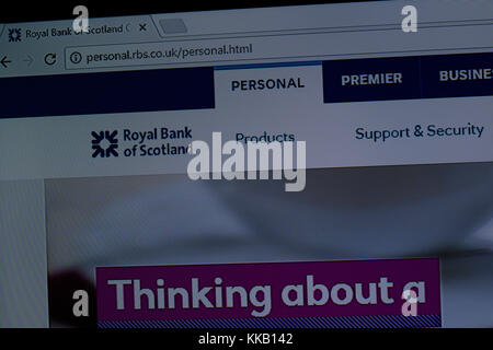 Close up of the RBS online banking website - Stock Photo