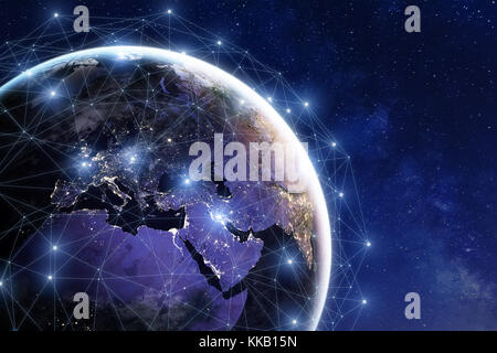Communication network around Earth used for worldwide international connections for finance, banking, internet, - Stock Photo