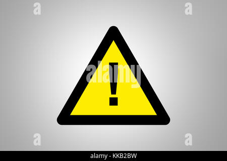 Illustrative triangle yellow warning signboard standing on grey background. - Stock Photo