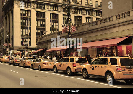 Taxis on the grand central station in August 08, 2013 in New York - Stock Photo