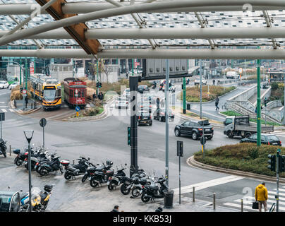 Milan, Italy - Nov 29th, 2017: Porta Nuova district in Milan, Lombardy Italy during on a cold Autumn day - Stock Photo