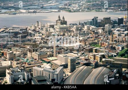 Liverpool city centre. West over Lime Street station, St. Johns Shopping Centre tothe Liver Building and River Mersey, - Stock Photo