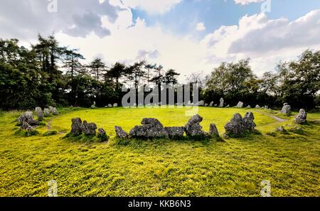 The late Neolithic prehistoric stone circle The Kings Men. Part of the Rollright Stones, Oxfordshire, England. 3000+ - Stock Photo