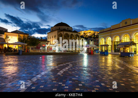 Old mosque, Acropolis and metro station in Monastiraki square in Athens, Greece. - Stock Photo