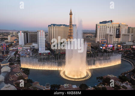 View of Bellagio fountains and part of the Strip at dusk, Las Vegas, Nevada, USA - Stock Photo