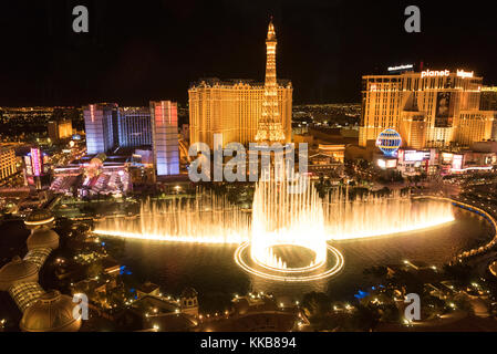 View of Bellagio fountains and part of the Strip at night, Las Vegas, Nevada, USA - Stock Photo