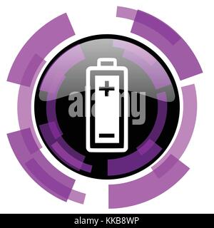 Battery pink violet modern design vector web and smartphone icon. Round button in eps 10 isolated on white background. - Stock Photo