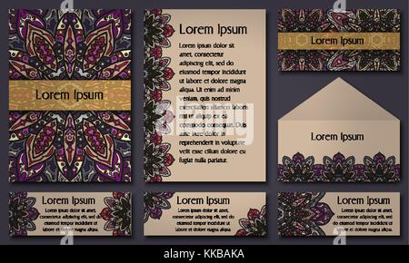 Set of invitation templates with colorful tribal mandalas. Ethnic wedding and invitation cards. Vector illustration. - Stock Photo