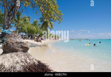 Tropical beach of Sainte Anne - Caribbean Sea - Guadeloupe tropical island - Stock Photo