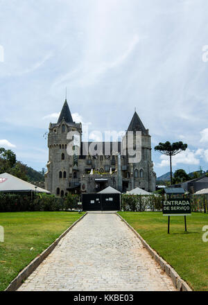 Back view of the Itaipava Castle, Petropolis, Rio de Janeiro, Brazil. The Itaipava Castle was constructed in 1920 - Stock Photo